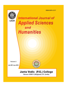 International Journal of Applied Sciences and Humanities