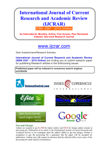 Call for Papers - International Journal of Current Research and