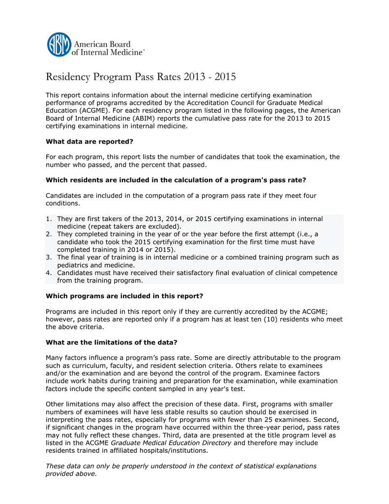 Residency Program Pass Rates Illinois