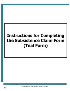 Instructions for Completing the Subsistence Claim Form