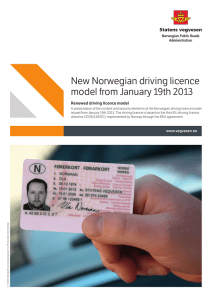New Norwegian driving licence model from January 19th 2013