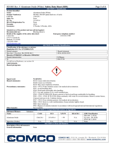 SD1003 Rev. F Aluminum Oxide (White) Safety Data Sheet (SDS