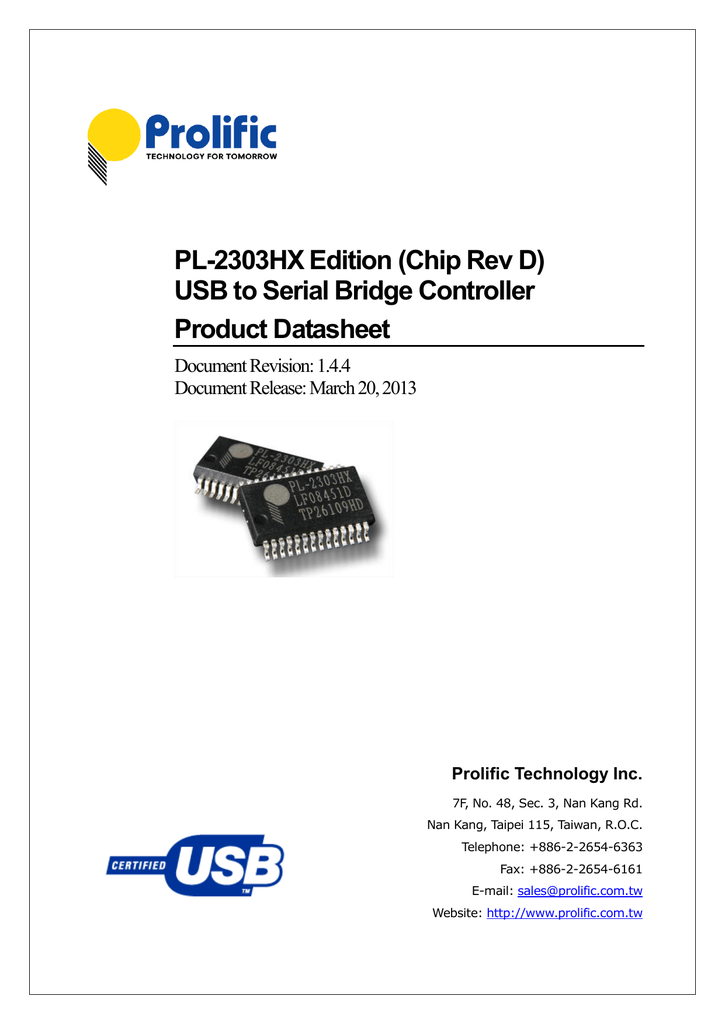PROLIFIC TECHNOLOGY INC USB TO SERIAL DRIVER FOR WINDOWS