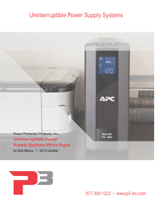 Uninterruptible Power Supply Systems - P3-Inc