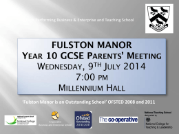 7:00 PM - Fulston Manor School