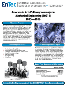 Associate in Arts Pathway to a major in Mechanical Engineering