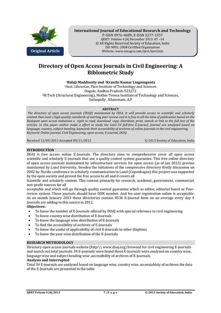Directory of Open Access Journals in Civil Engineering