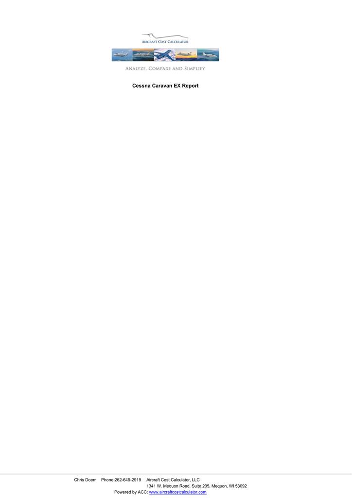 Cessna Caravan EX Report - Aircraft Operating Costs Calculator