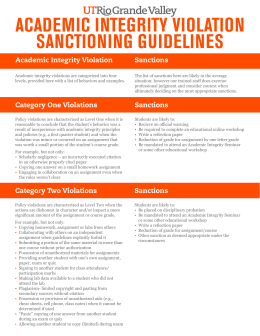 ACADEMIC INTEGRITY VIOLATION SANCTIONING GUIDELINES