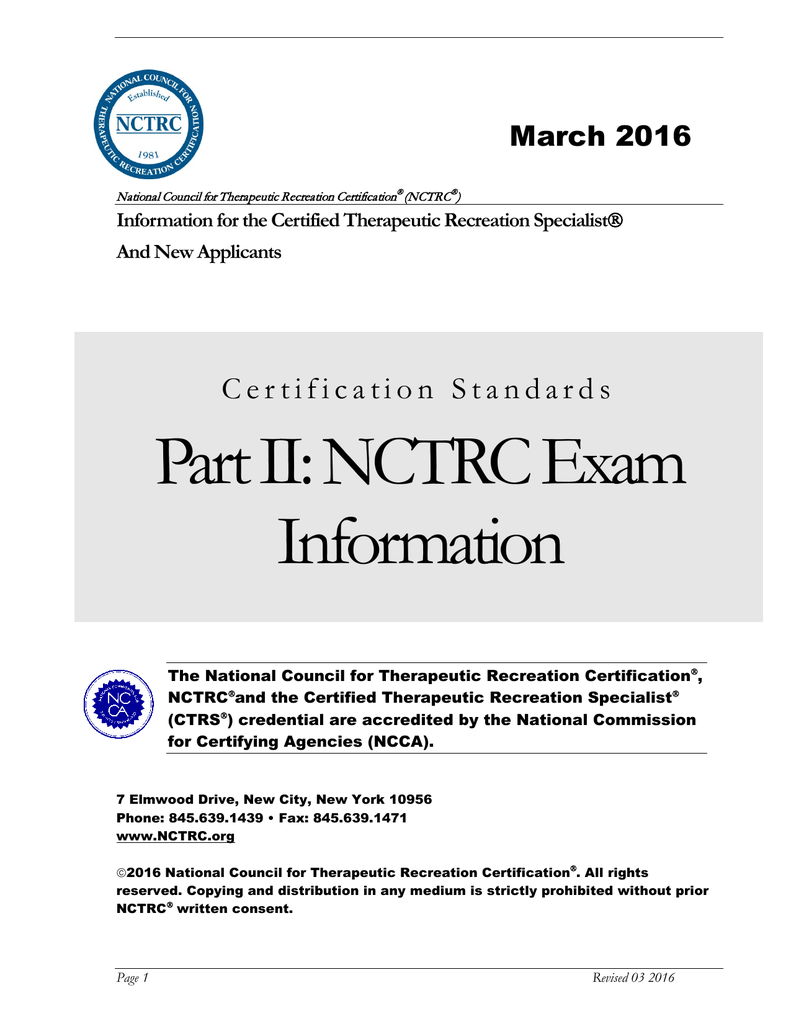 Part Ii Nctrc Exam Information National Council For Therapeutic