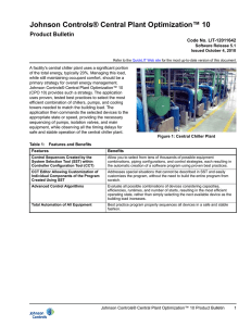 Johnson Controls® Central Plant Optimization™ 10 Product Bulletin