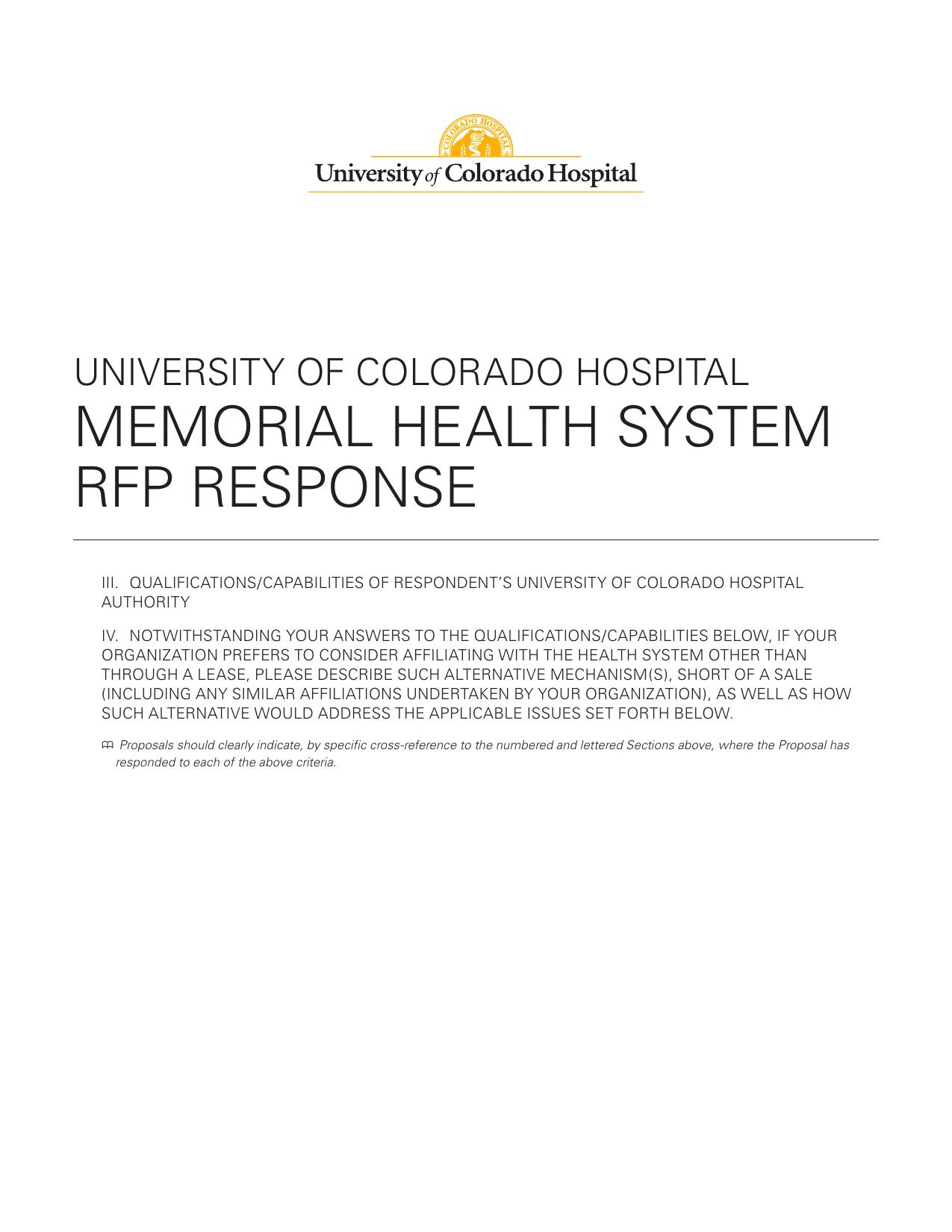 memorial health system rfp response