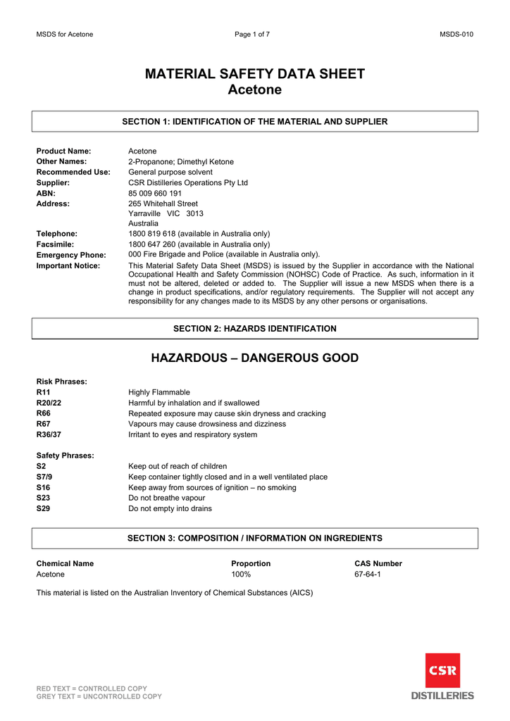 Material Safety Data Sheet Acetone
