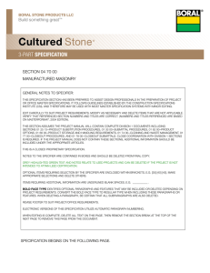 Cultured Stone 3-Part Specification
