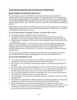 Student Acceptable Use Policy - Mansfield Independent School District