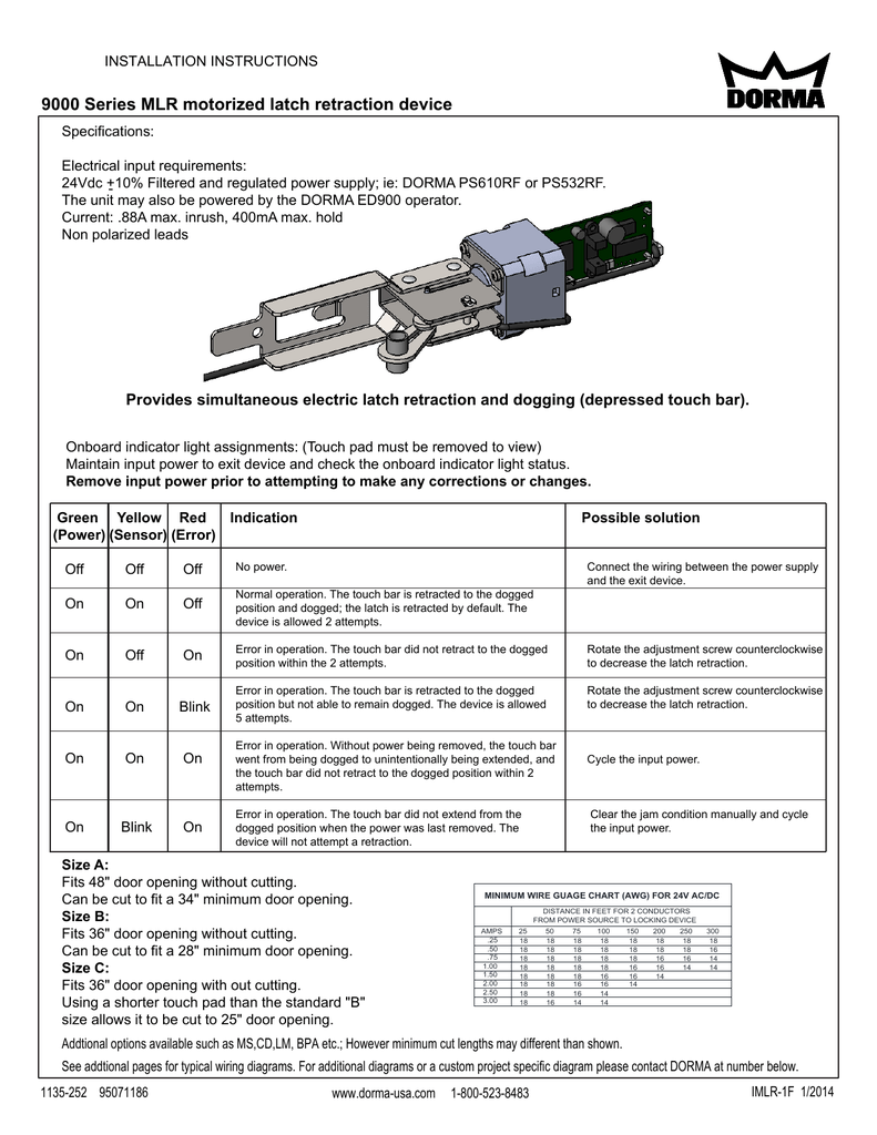 9000 Series Mlr Motorized Latch Retraction Device Electric Wiring Diagram