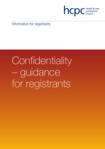 Confidentiality – guidance for registrants