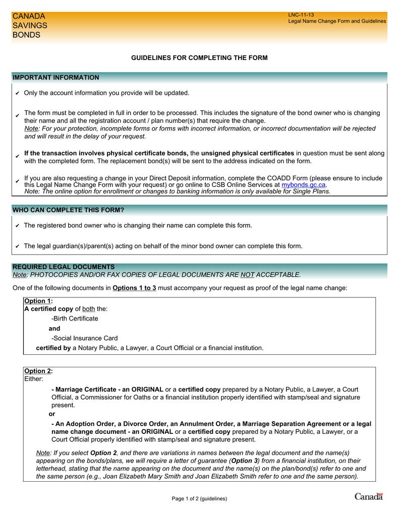 Legal Name Change Form (LNC)