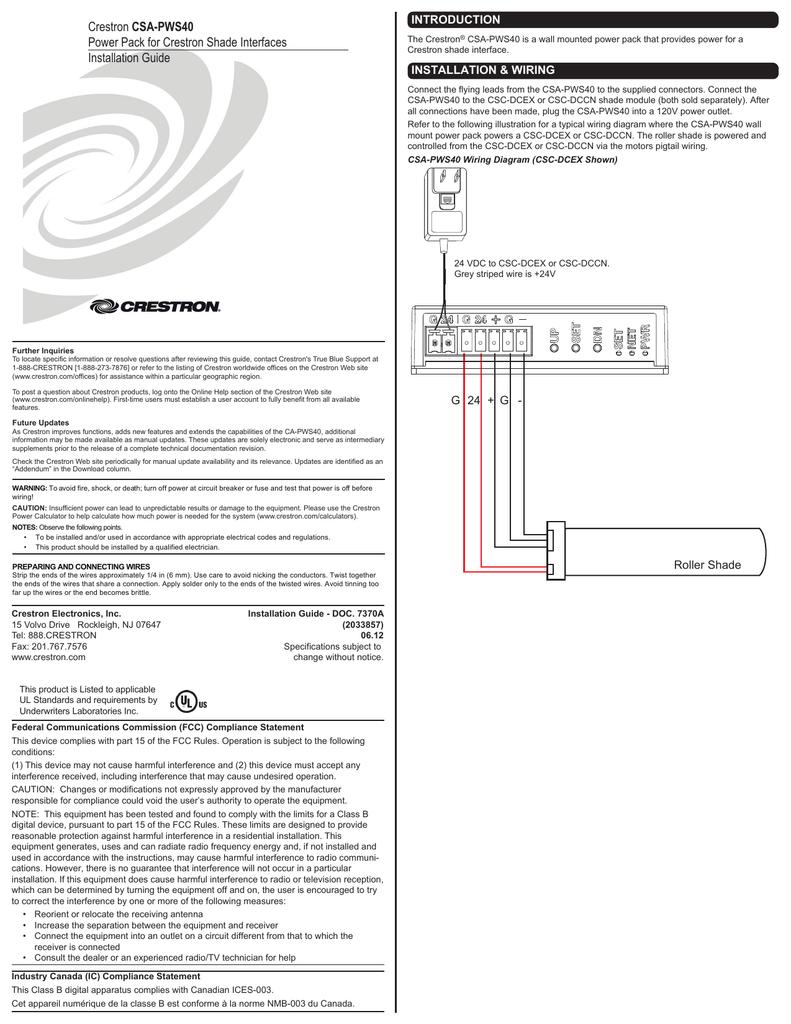 Installation Guide Csa Pws40 Crestron Wiring Diagrams