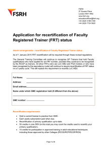 Application for recertification of Faculty Registered Trainer (FRT) status