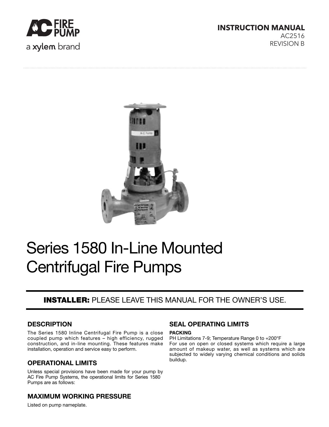 AC2516B Series 1580 In-Line Mounted Centrifugal Fire Pumps