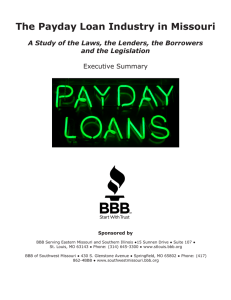The Payday Loan Industry in Missouri