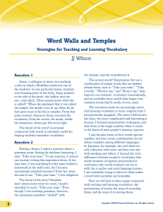 Word Walls and Temples: Strategies for Teaching and Learning