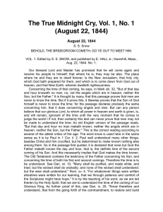 The True Midnight Cry, Vol. 1, No. 1 (August 22, 1844)