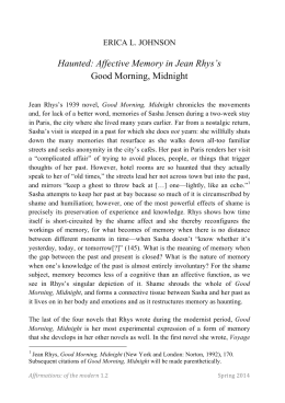 Haunted: Affective Memory in Jean Rhys`s Good Morning, Midnight