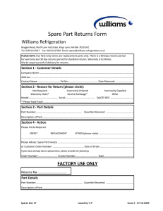 Spare Part Returns Form - Williams Refrigeration