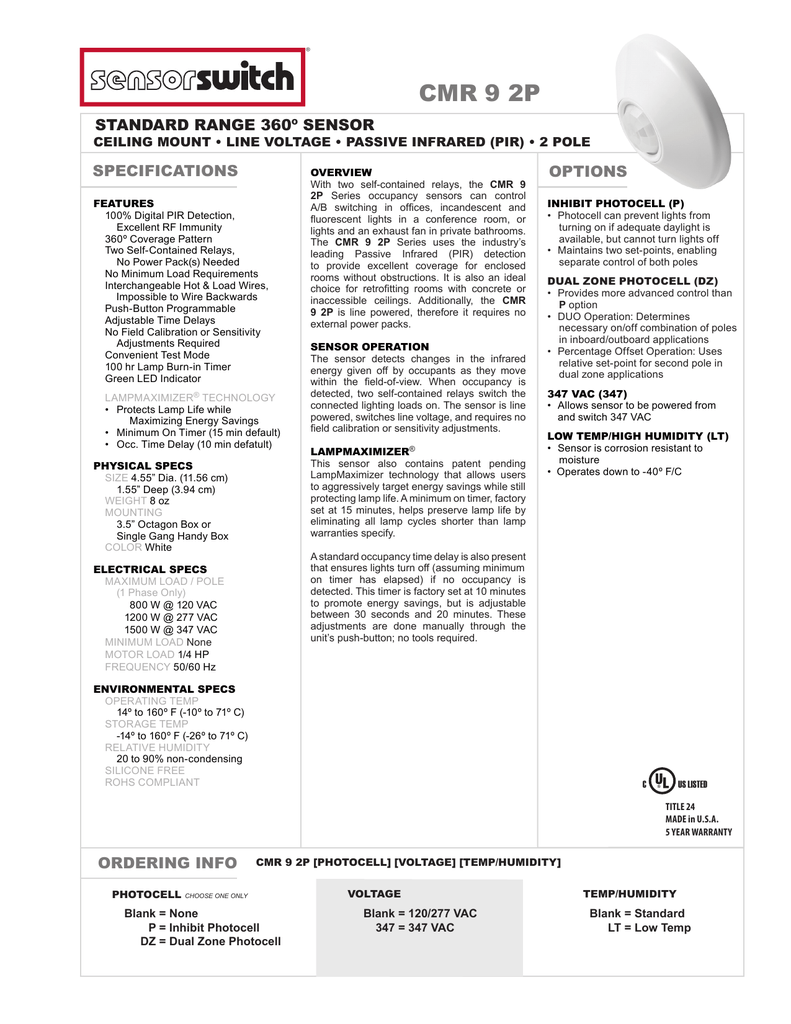 Cmr 9 2p Line Voltage 2 Pole Standard Range 360 Sensor Photocell And Timer Wiring