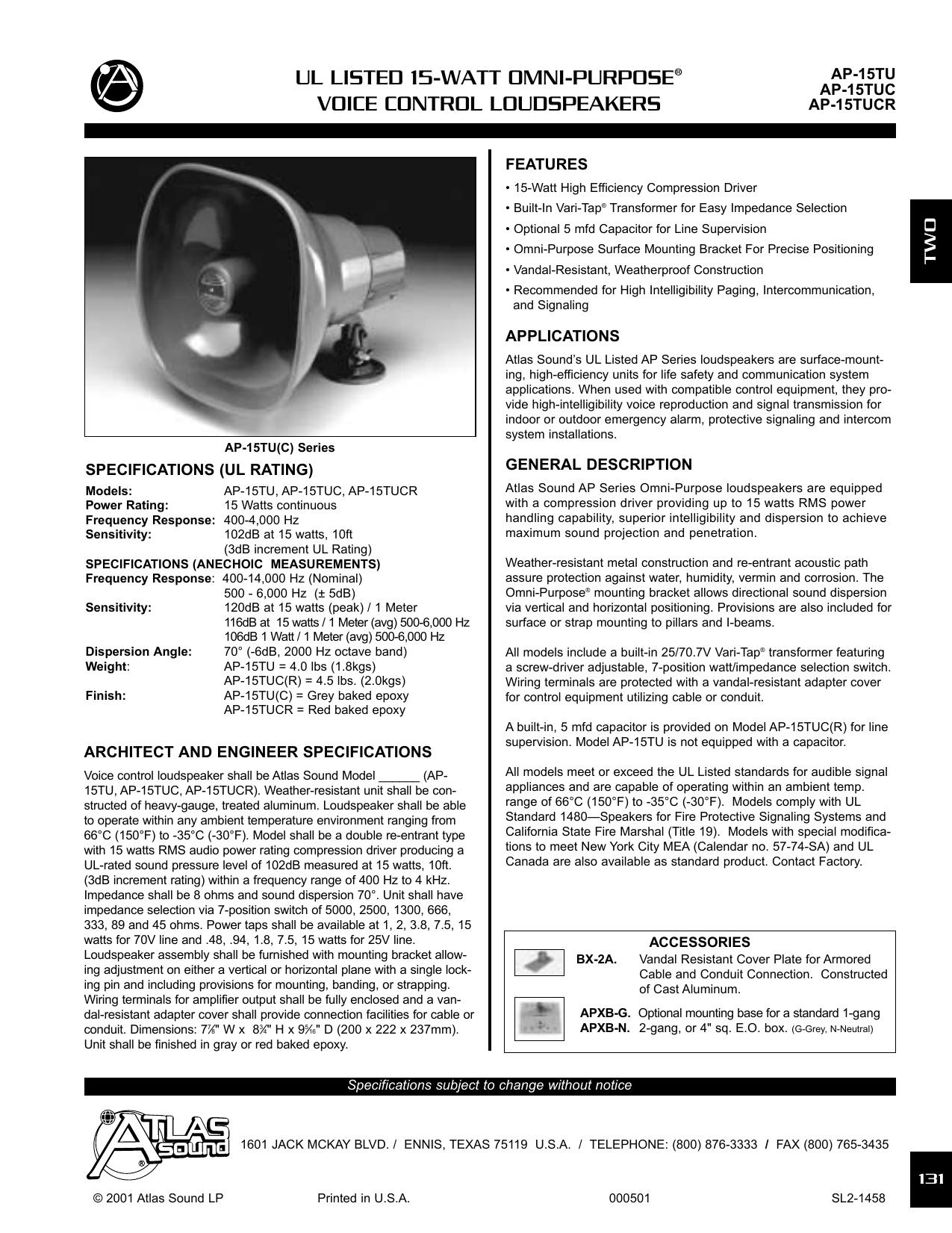 Ul Listed 15 Watt Omni Purpose Voice Control Jack Wiring