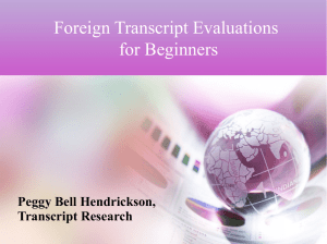 Foreign Transcript Evaluations for Beginners