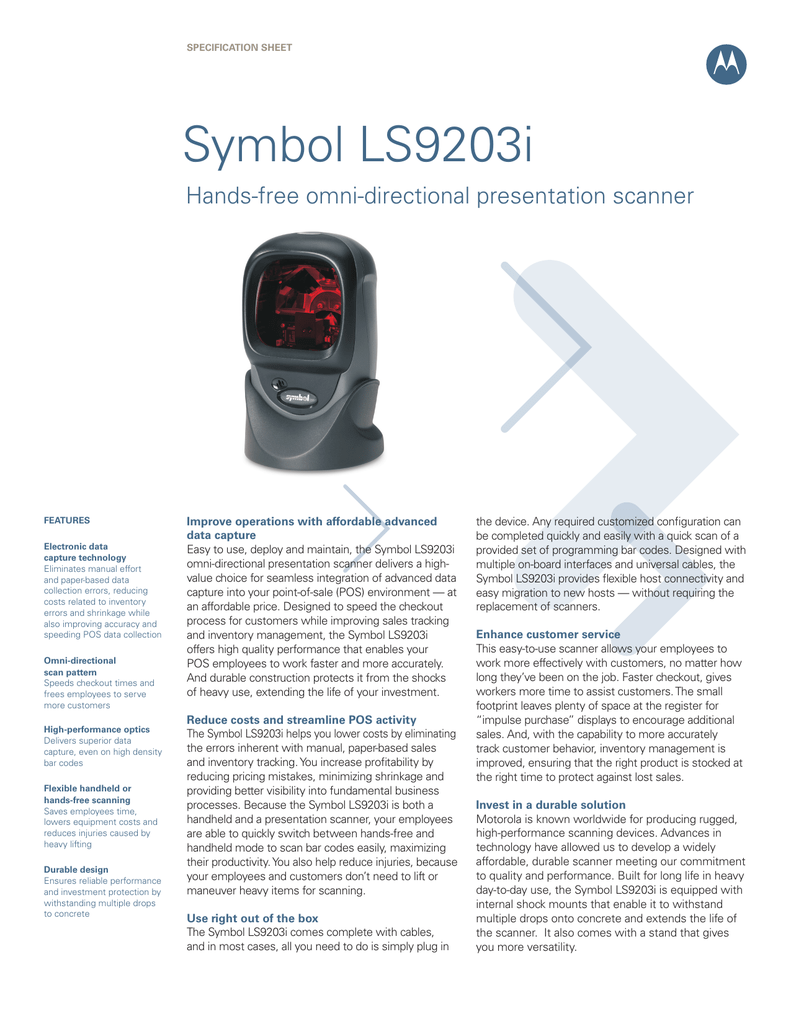 Symbol Ls9203i Texas Barcode Systems