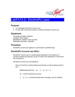 LabFA13-2– Kirchhoff`s Laws