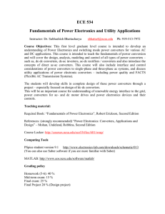 ECE 534 Fundamentals of Power Electronics and Utility Applications