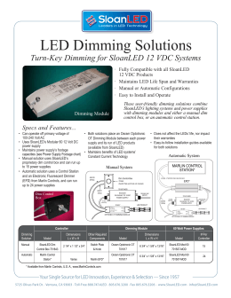 12 VDC Dimming Solutions Data Sheet