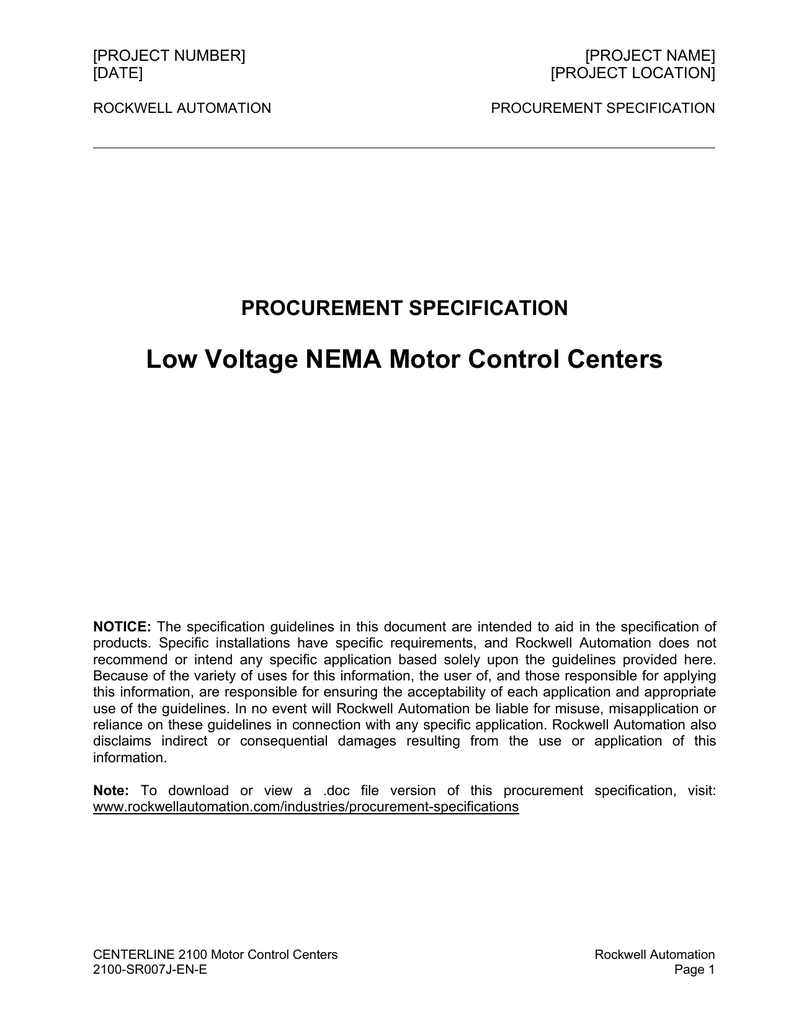 Low Voltage Nema Motor Control Centers Procurement Specification Line Connected Wiring Diagram With Bypass And External Overload