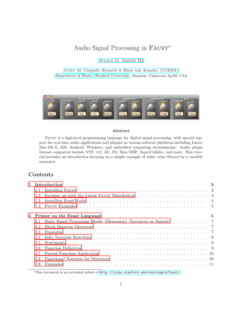 Audio Signal Processing In Faust Ccrma Windows 7 Block Diagram