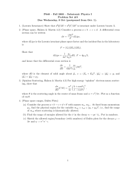 P640 – Fall 2003 – Subatomic Physics I Problem Set #3 Due