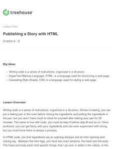 Publish a Story with HTML