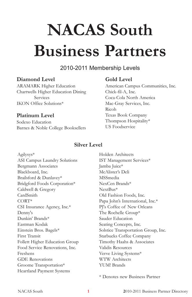 NACAS South Business Partners
