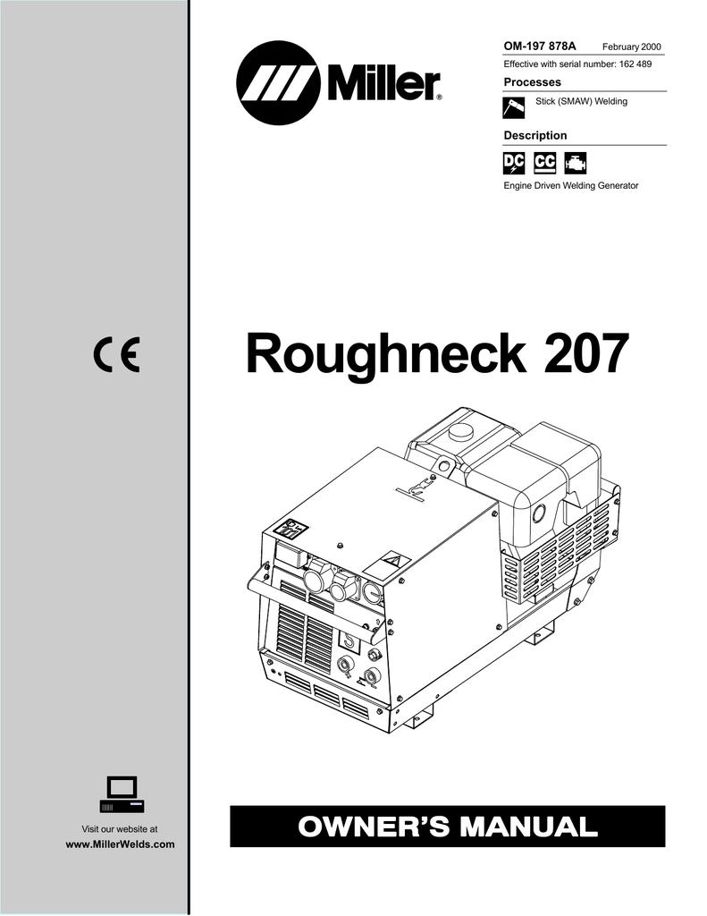 Roughneck 207 Miller Electric Welding Generator Diagram
