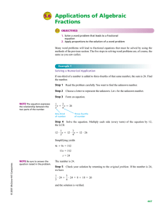 Applications of Algebraic Fractions