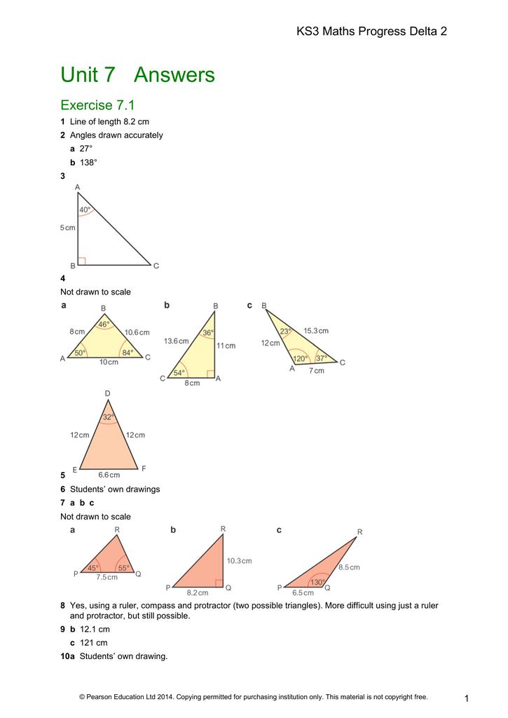 Unit 7 Answers - Mathematics with Mr Walters