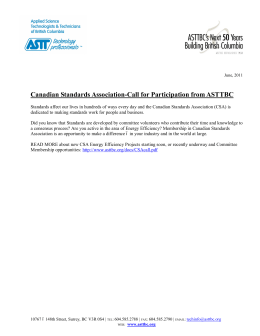 Canadian Standards Association-Call for Participation from ASTTBC