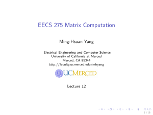 EECS 275 Matrix Computation