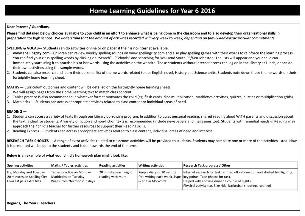 Home learning week 3/4 - Wallsend South Public School