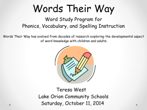 Words Their Way - Lake Orion Community Schools