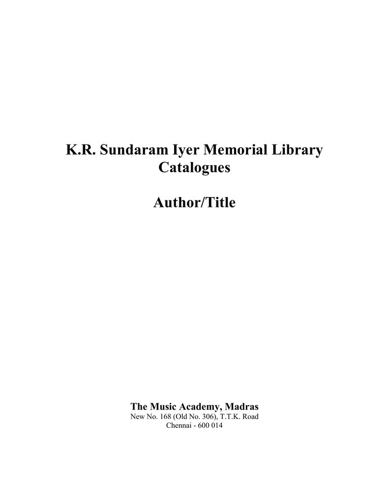 KR Sundaram Iyer Memorial Library Catalogues